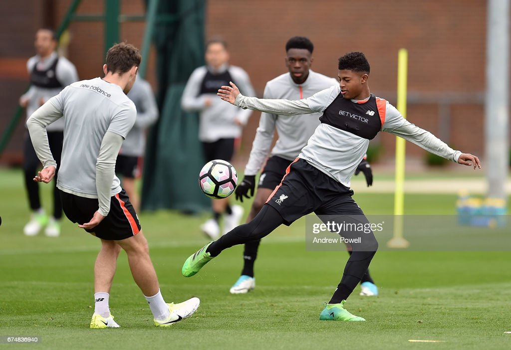 Rhian Brewster of Liverpool during a training session at Melwood Training Ground on April 29, 2017 in Liverpool, England.