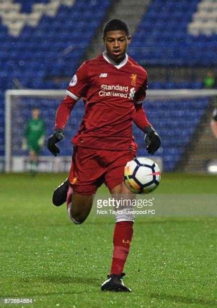 Rhian Brewster of Liverpool in action during the Liverpool U23 v Newcastle United U23 Premier League International Cup game at Prenton Park on...