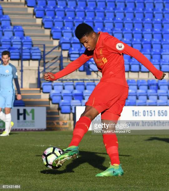 Rhian Brewster of Liverpool in action during the Liverpool v Manchester City Premier League 2 game at Prenton Park on April 24 2017 in Birkenhead...