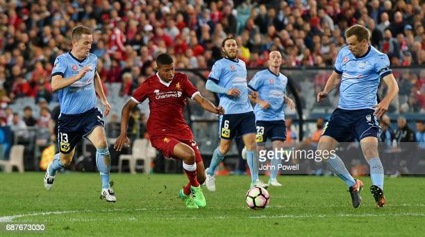 Rhian Brewster of Liverpool powers through during the International Friendly match between Sydney FC and Liverpool FC at ANZ Stadium on May 24 2017...