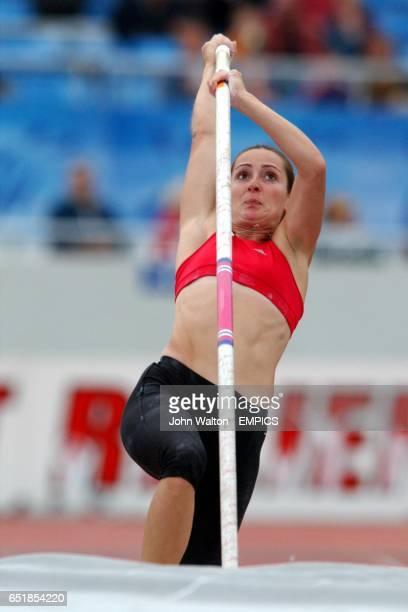 Rhian Clarke in action in the women's pole vault competition