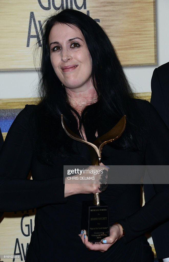Rhianna Pratchett poses in the press room at the Writers Guild Awards, in Century City, California, February 13, 2016 / AFP / CHRIS DELMAS