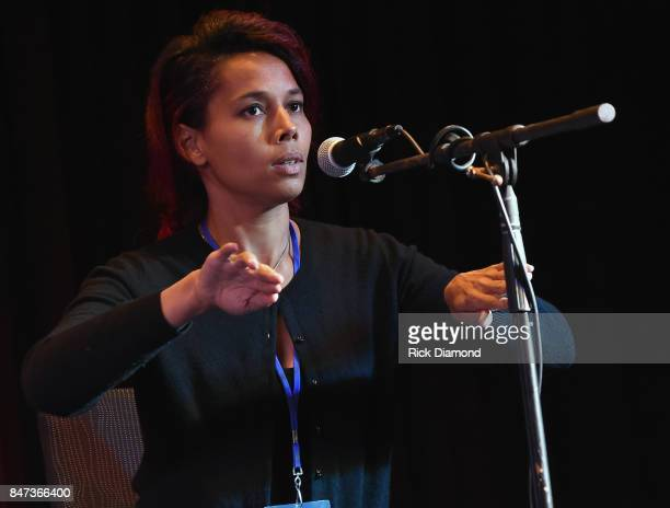 Rhiannon Giddens attends 18th Annual Americana Music Festival Conference Songwriter Workshop With Joe Henery Rhiannon Giddens And Dirk Powell at...