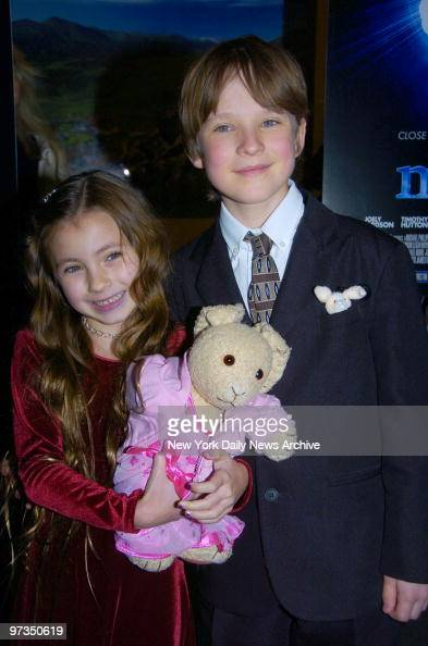 Rhiannon Leigh Wryn and Chris O'Neil arrive at the Museum of Natural History for the New York premiere of the movie 'The Last Mimzy' They star in the...