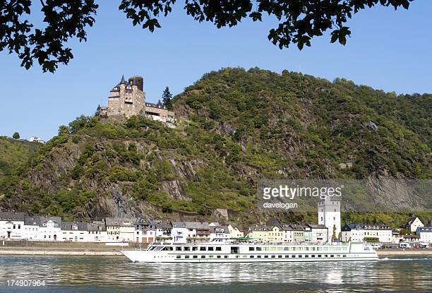 Rhine River in Central Germany with Burg Katz Castle