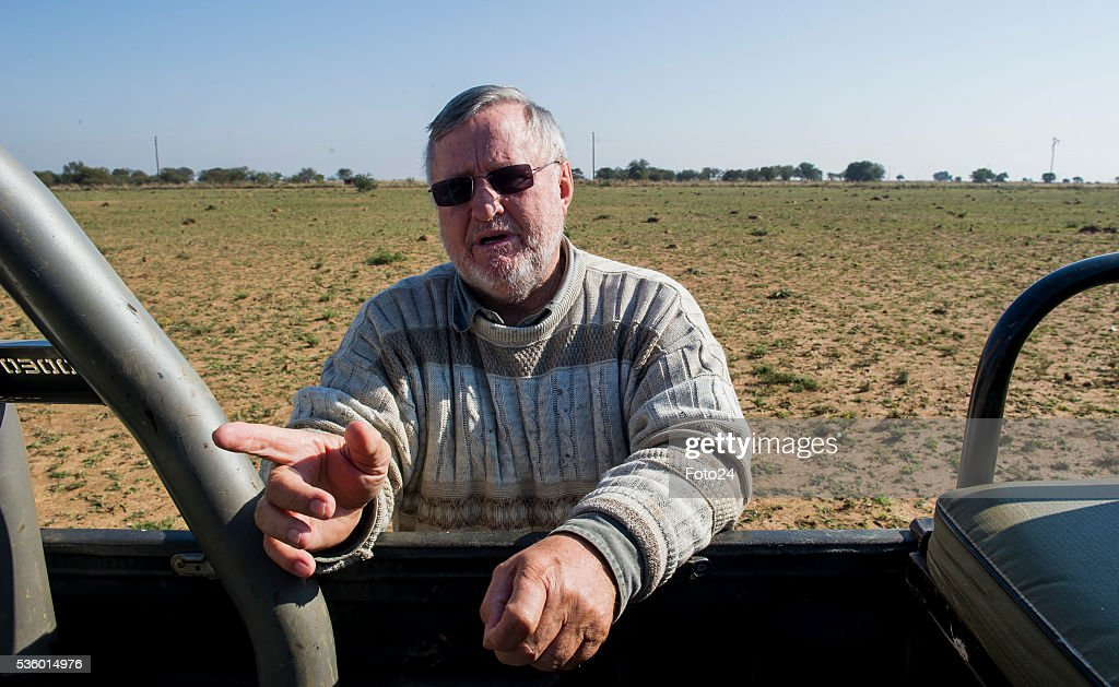 Rhino farmer; Johan Hume during an interview about his court battle victory to amputate and sell his rhinos horns on May 28, 2016 in Klerksdorp, South Africa. The 74-year-old Hume argues that if he can feed the demand with legally-obtained rhino horns, he can slow the illegal trade and save the species from extinction.