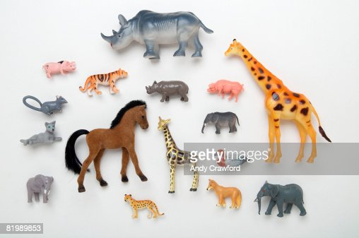 Rhinoceros, giraffe, horse, duck, elephant, pig, tiger and leopard toys : Stock-Foto