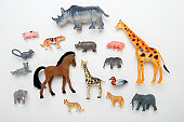Rhinoceros, giraffe, horse, duck, elephant, pig, tiger and leopard toys