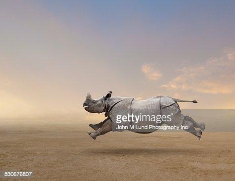 Rhinoceros running in rural field