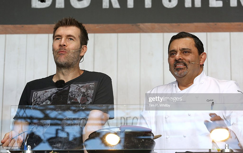 Rhod Gilbert and Chef Cyrus Todiwala attend the Neff Big Kitchen during The Big Feastival at Alex James' Farm on August 26 2016 in Kingham Oxfordshire