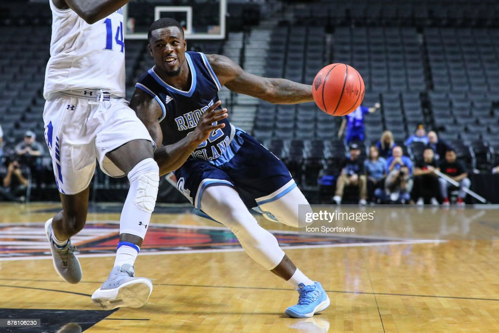 Rhode Island Rams guard Jared Terrell (32) during the second half of the NIT Season Tip Off College Basketball game between the Seton Hall Pirates and the Rhode Island Rams on November 23, 2017, at the Barclays Center in Brooklyn, NY.