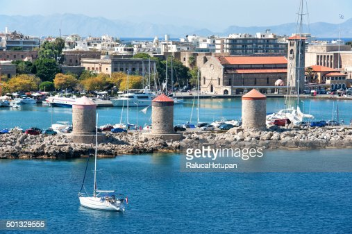 Rhodes Windmills In Mandraki Harbour Stock Photo  Getty ...