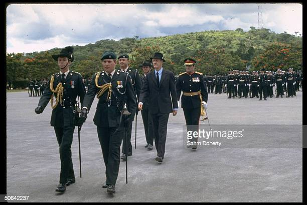 Rhodesian Prime Minister Ian Smith in Passing Out parade of new officers at Cruelo Infantry Base