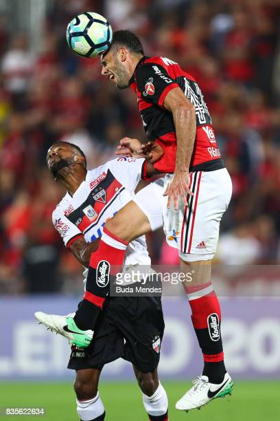Rhodolfo of Flamengo struggles for the ball with Diego Rosa of Atletico GO during a match between Flamengo and Atletico GO part of Brasileirao Series...