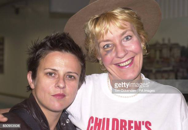 Rhona Cameron and Christine Hamilton the wife of former Tory MP Neil Hamilton at London's Heathrow Airport after returning from Australia where they...