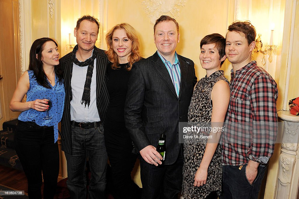 Rhona Croker, Richard Bean, Kelly Price, Rufus Hound, Amy Cudden and Sam Alexander attend an after party celebrating the new cast of 'One Man, Two Guvnors' at the Theatre Royal Haymarket on February 12, 2013 in London, England.