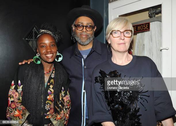 Rhonda Brown artist Arthur Jafa and MOCA Chief Curator Helen Molesworth attend MOCA's Leadership Circle and Members' Opening of 'Carl Andre Sculpture...