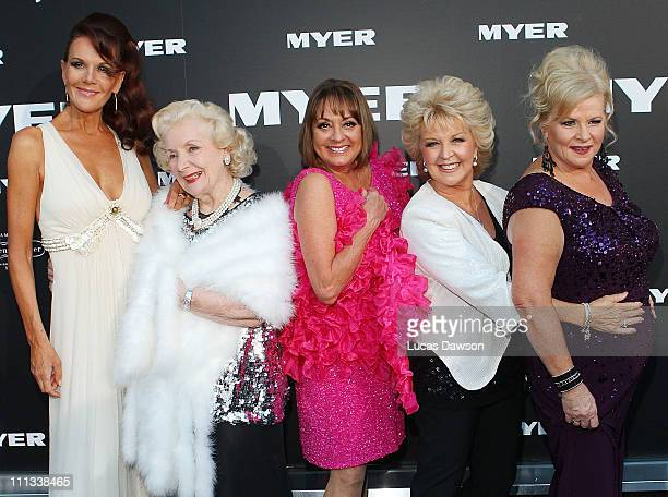 Rhonda BurchmoreVal JellayDenise DrysdalePatti Newton and Colette Mann arrive to celebrate Myer Bourke Street reopening and 100th birthday on March...