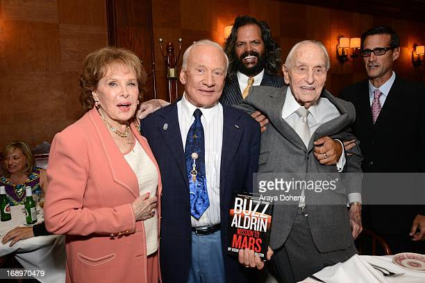 Rhonda Fleming Buzz Aldrin and AC Lyles attend A C Lyles Birthday Party at Musso Frank on May 17 2013 in Hollywood California