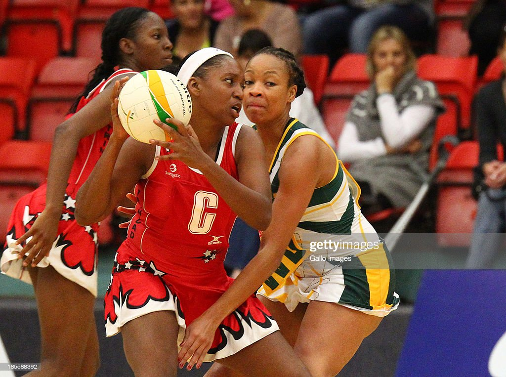 Rhonda John Davis of Trinidad and Tobago in action during the International Tri Nations match between South Africa and Trinidad and Tobago at Vodacom NMMU Indoor Stadium on October 22, 2013 in Port Elizabeth, South Africa.