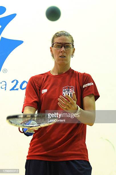 Rhonda Rajsich of United States competes in women's racquetball during the 2011 XVI Pan American Games at Racquetbol Complex on October 22 2011 in...