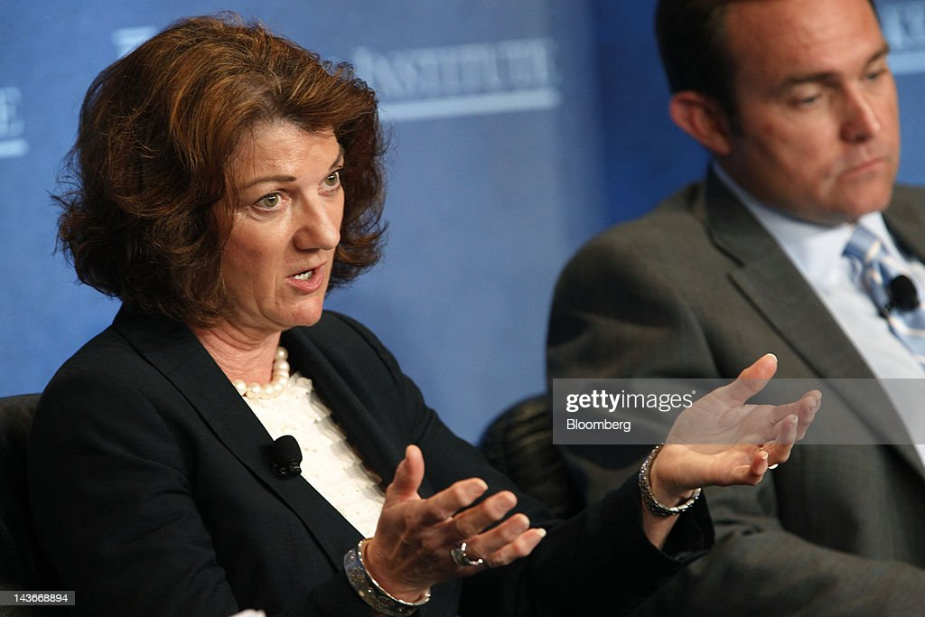 Rhonda Zygocki, executive vice president of policy and planning at Chevron Corp., speaks at the annual Milken Institute Global Conference in Beverly Hills, California, U.S., on Tuesday, May 1, 2012. The conference brings together hundreds of chief executive officers, senior government officials and leading figures in the global capital markets for discussions on social, political and economic challenges. Photographer: Patrick Fallon/Bloomberg via Getty Images