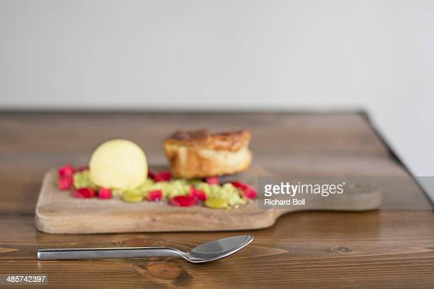 Rhubarb clafoutis with cardamom ice cream