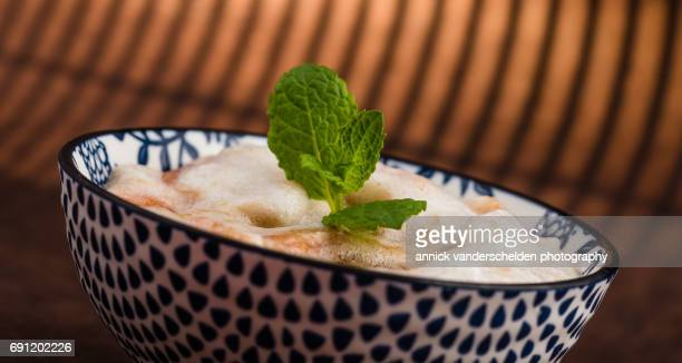 Rhubarb mousse with honey and mint.
