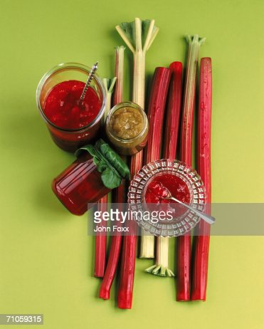 Rhubarb with savory sauce, directly above
