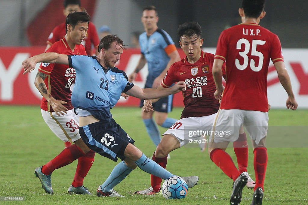 Rhyan Bert Grant of Sydney FC in action against Yu Hanchao of Guangzhou Evergrande during the AFC Asian Champions League match between Guangzhou Evergrande FC and Sydney FC at Tianhe Stadium on May 3, 2016 in Guangzhou, China.