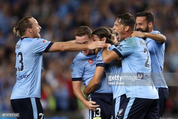 Rhyan Grant Brandon O'Neill Joshua Brillante Filip Holosko and Alex Brosque of Sydney FC celebrate Joshua Brillante scoring a goal during the ALeague...
