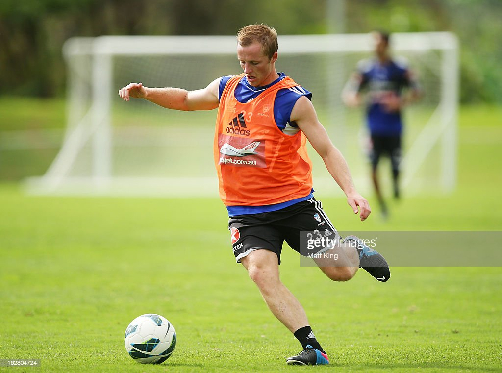 Rhyan Grant controls the ball during a Sydney FC A-League training session at Macquarie Uni on February 28, 2013 in Sydney, Australia.