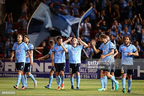 Rhyan Grant of Sydney celebrates after scoring a goal during the round 12 ALeague match between Adelaide United and Sydney FC at Coopers Stadium on...