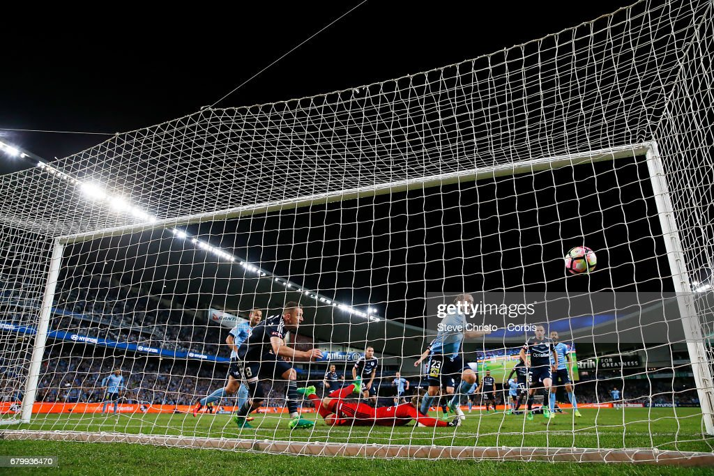 Rhyan Grant of Sydney FC celebrates scoring the equilising goal during the 2017 A-League Grand Final match between Sydney FC and the Melbourne Victory at Allianz Stadium on May 7, 2017 in Sydney, Australia.