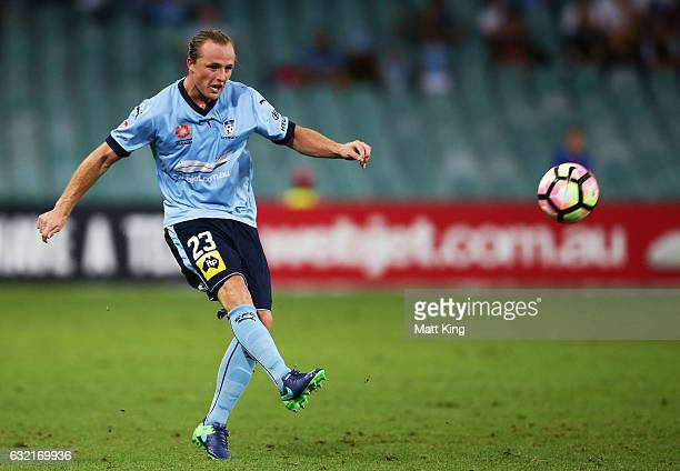Rhyan Grant of Sydney FC controls the ball during the round 16 ALeague match between Sydney FC and Adelaide United at Allianz Stadium on January 20...