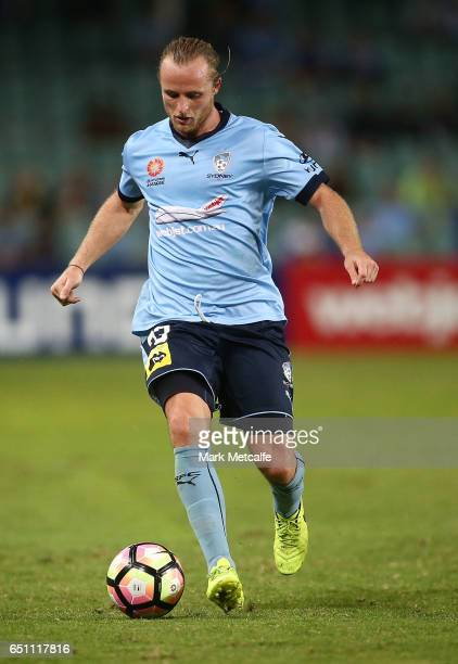Rhyan Grant of Sydney FC controls the ball during the round 23 ALeague match between Sydney FC and the Central Coast Mariners at Allianz Stadium on...