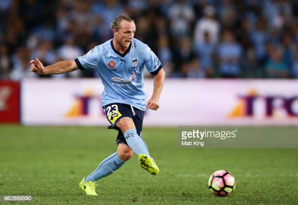 Rhyan Grant of Sydney FC controls the ball during the round 25 ALeague match between Sydney FC and Melbourne City FC at Allianz Stadium on April 1...