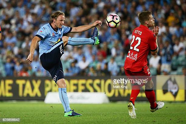 Rhyan Grant of Sydney FC controls the ball during the round eight ALeague match between Sydney FC and Adelaide United at Allianz Stadium on November...
