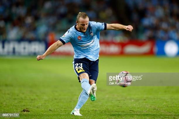 Rhyan Grant of Sydney FC crosses the ball during the round 27 ALeague match between Sydney FC and the Newcastle Jets at Allianz Stadium on April 15...