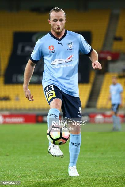 Rhyan Grant of Sydney FC in action during the round 26 ALeague match between the Wellington Phoenix and Sydney FC at Westpac Stadium on April 8 2017...