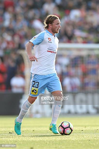Rhyan Grant of Sydney FC in action during the round four ALeague match between the Newcastle jets and Sydney FC at McDonald Jones Stadium on October...