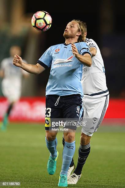 Rhyan Grant of Sydney FC wins the ball during the round five ALeague match between Sydney FC and the Melbourne Victory at Allianz Stadium on November...