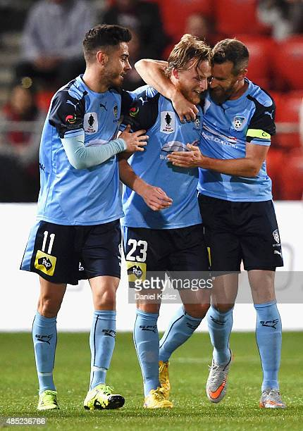 Rhyan Grant of Sydney reacts after scoring a goal during the FFA Cup Round of 16 match between Adelaide United and Sydney FC at Coopers Stadium on...
