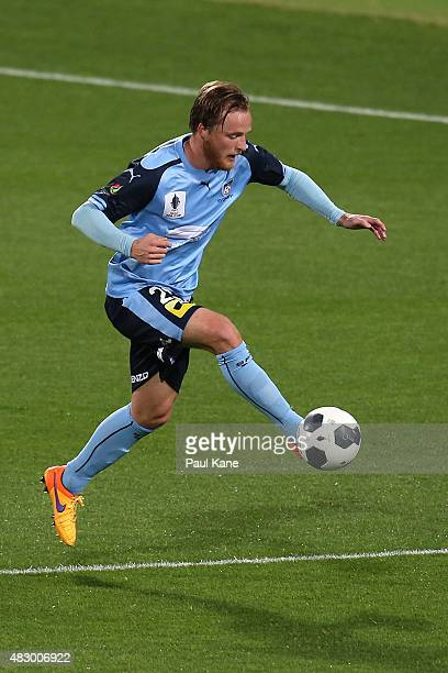 Rhyan Grant of Sydney traps the ball during the FFA Cup match between Sorrento FC and Sydney FC at nib Stadium on August 5 2015 in Perth Australia