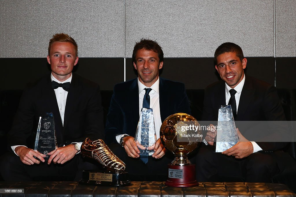Rhyan Grant poses with the Sydney FC A-League Players' Player of the Year award, <a gi-track='captionPersonalityLinkClicked' href=/galleries/search?phrase=Alessandro+Del+Piero&family=editorial&specificpeople=206226 ng-click='$event.stopPropagation()'>Alessandro Del Piero</a> poses with the Golden Boot Award, the Sydney FC Members Award and the 2012/13 Sydney FC Player of the Year Award and Peter Triantis poses with the Sydney FC Youth League Players' Player of the Year at the Sydney FC Sky Blue Ball at Doltone House on April 9, 2013 in Sydney, Australia.