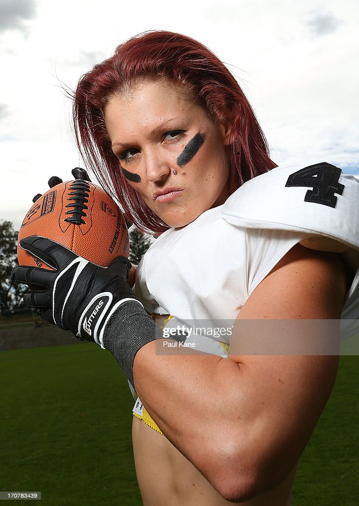 Rhyanna Edbrook of the Western Australian Angels poses during a Legends Football League (LFL) media day at nib Stadium on June 18, 2013 in Perth, Australia.