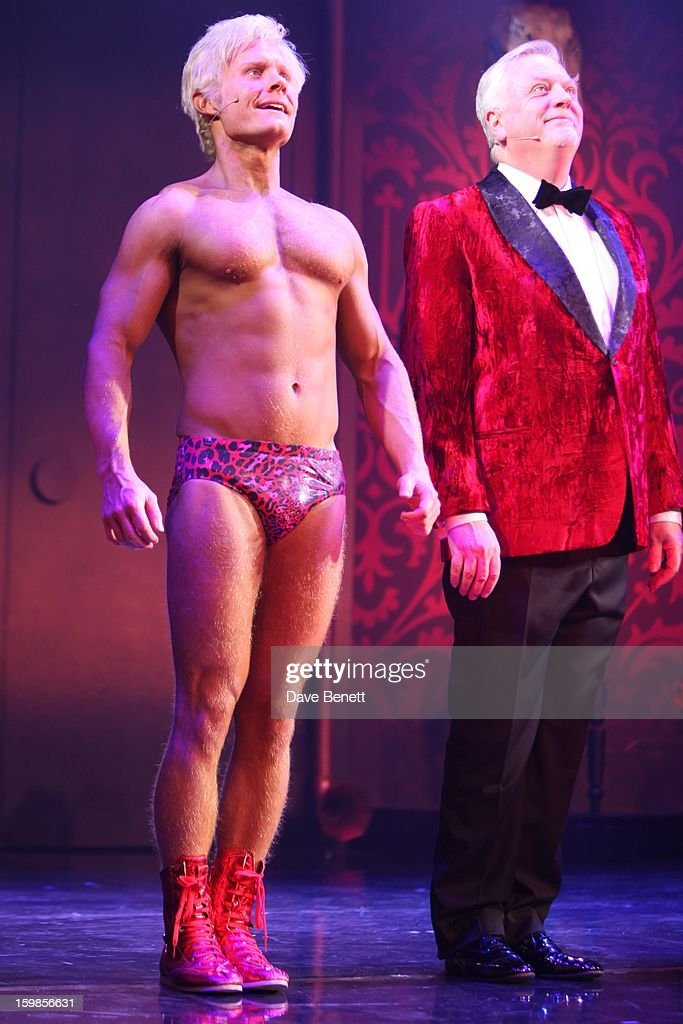 Rhydian and Philip Franks perform on stage during a production of Richard O'Brien's Rocky Horror Show at the New Wimbledon Theatre on January 21st, 2013 in London, United Kingdom.