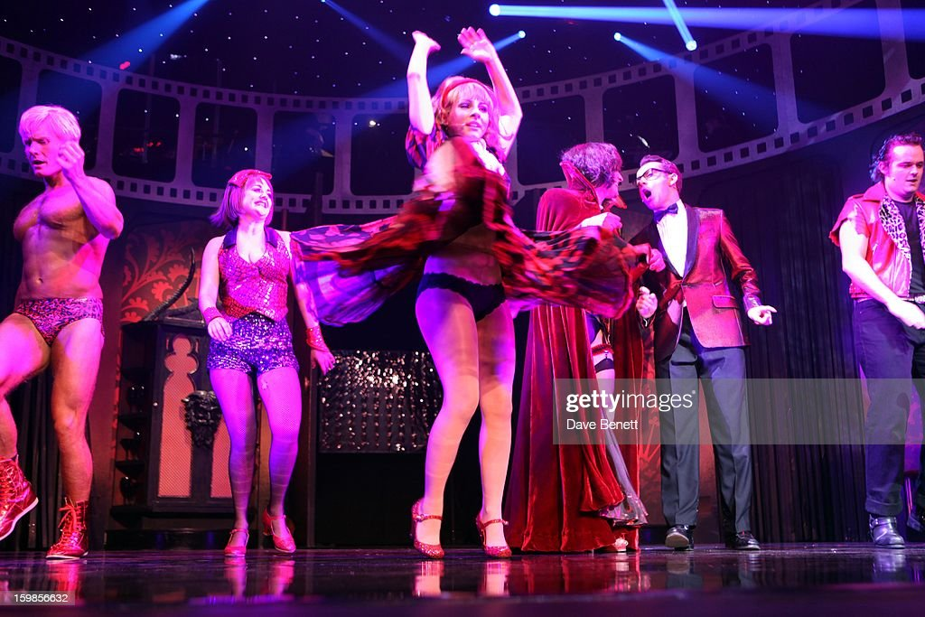 Rhydian and Roxanne Pallett perform on stage during a production of Richard O'Brien's Rocky Horror Show at the New Wimbledon Theatre on January 21st...