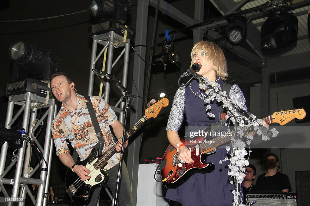Rhydian Dafydd and Rhiannon ' Ritzy' Bryan of The Joy Formidable perform at The Warner Sound captured by Nikon during the 2013 SXSW Music, Film + Interactive Festival at The Belmont on March 14, 2013 in Austin, Texas.
