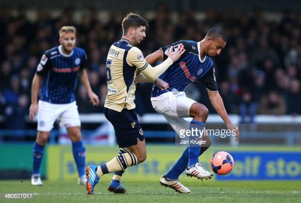 Rhys Bennett of Rochdale AFC competes with Luke Murphy of Leeds during the Budweiser FA Cup third round match between Rochdale and Leeds United at...
